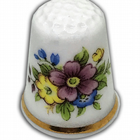 Personalised China  Pink & Blue Floral Spray Thimble, Wedding Anniversary Gift