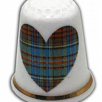 Personalised Fine Bone China Blue Tartan Heart Thimble, Wedding Anniversary Gift