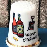 Personalised  Bone China Wine O'Clock Thimble, Wedding Birthday Anniversary Gift