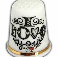 Personalised Bone China I Love You Thimble, Anniversary Wedding Valentine's Gift