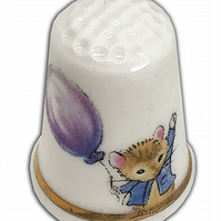 Personalised Bone China Mousykins Thimble, New Baby Gift, Christening Baptism