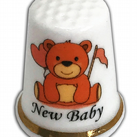 Personalised Fine Bone China New Baby Bear Thimble, New Baby Christening Gift