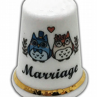 Personalised Fine Bone China Marriage Thimble, Wedding Anniversary Owl Gift