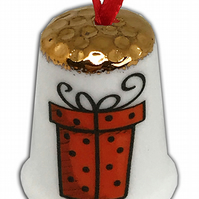 Personalised China Christmas Hanging Thimble, Stocking Filler, Christmas Gift