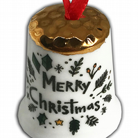Personalised Fine Bone China Merry Christmas Hanging Thimble, Christmas Gift