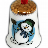 Personalised Fine Bone China Snowman Hanging Thimble, Christmas Gift Present