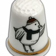 Personalised Fine Bone China Christmas Bird Thimble, Personalised Thimble