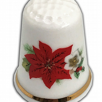 Personalised Fine Bone China Christmas Poinsettia Thimble, Personalised Thimble