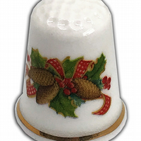 Personalised Fine Bone China Christmas Fir Cones Thimble, Personalised Thimble