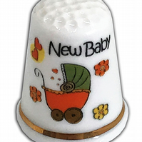 Personalised Fine Bone China New Baby Thimble, Christening Baptism Gift