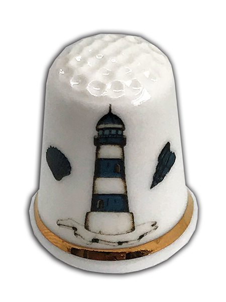 Personalised Fine Bone China Lighthouse & Shells Thimble, Sea Themed Thimble