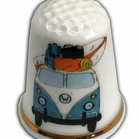 Personalised Fine Bone China Campervan Thimble, Bon Voyage Gift