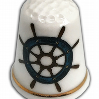 Personalised Fine Bone China Bon Voyage Ship's Wheel Thimble, Sailing Gift
