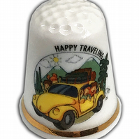 Personalised Fine Bone China Bon Voyage Happy Travels Thimble