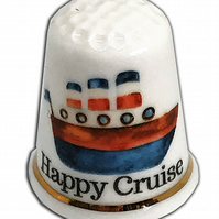 Personalised Fine Bone China Happy Cruise Thimble, Bon Voyage Gift