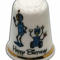 Personalised Fine Bone China Birthday Robots Thimble, Birthday Card Gift