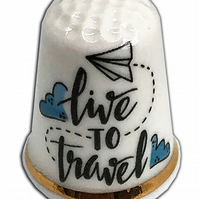 Personalised Fine Bone China Time To Travel Bon Voyage Thimble