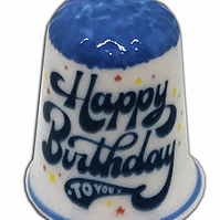 Personalised Fine Bone China Blue Capped Happy Birthday Thimble
