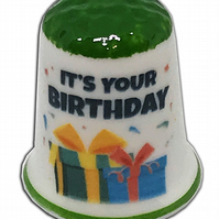 Personalised Fine Bone China Green Capped Happy Birthday Thimble, Birthday Gift