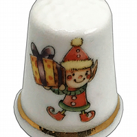 Personalised Fine Bone China Christmas Elf  Thimble, Personalised Thimble