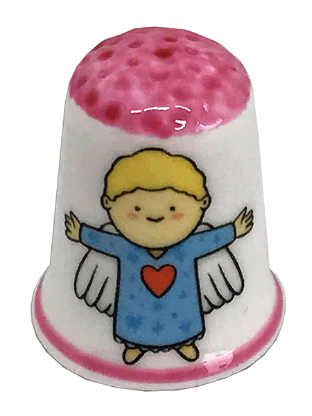 Personalised Fine Bone China Christmas Angel Thimble, Personalised Thimble