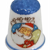 Personalised Fine Bone China Christmas Ho Ho Ho Santa Thimble, Xmas Gift