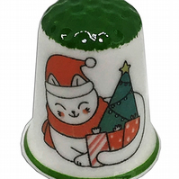 Personalised Fine Bone China Christmas Cat Thimble, Personalised Thimble