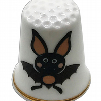 Personalised Fine Bone China Cute Bat Halloween Thimble, Birthday Gift