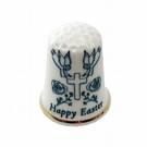Traditional Happy Easter Personalised China Thimble