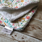 Set of 3 dish cloths in floral multi color cotton fabric and white terry cloth