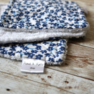 Set of 3 dish cloths with blue flower print and white terry cloth backing