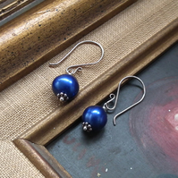Midnight blue freshwater pearl earrings with sterling silver