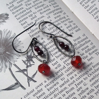 Autumn earrings, carnelian with garnet and oxidized sterling silver