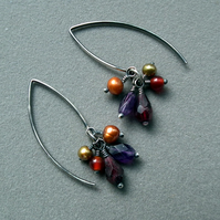 Autumn earrings, gemstone cluster earrings with oxidized sterling silver