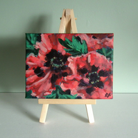 Little impressionist flower painting - 6x4 inches - acrylic poppy on canvas