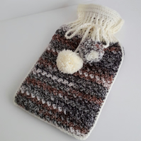 Crochet Hot Water Bottle Cover with bottle