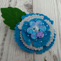 Blue floral corsage, flower brooch, ladies blue lapel pin, felt flower gifts
