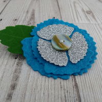 Blue felt poppy brooch, lapel pin, felt brooches, floral corsage