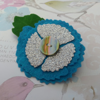 Blue poppy brooch, felt floral lapel pin, flower badge