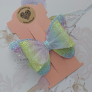 Rainbow bow clip, butterfly hair bow, ponytail bows, pastel hair accessories