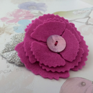 Felt flower brooch, floral gifts, pink poppy lapel pin, pink accessories