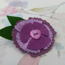 Floral lapel pin, purple poppy, brooch, felt poppies, small gifts