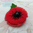 Poppy corsage, red poppy lapel pin, glitter poppies, ladies red floral brooch