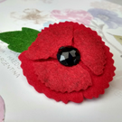 Small red poppy brooch, felt poppies, lapel pin