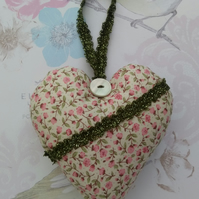 Ditsy floral hanging heart, cute padded heart decoration, gifts, door hanger