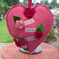 Pink heart door hanger, hugs and kisses, gifts, embellished hanging hearts