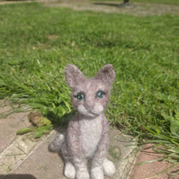 needle felted small tabby cat