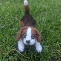 needle felted playful beagle puppy