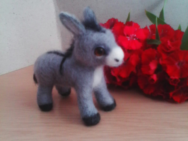 Oak Needle felted small grey  donkey