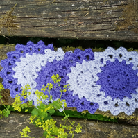 Purple and Lilac Crochet Coasters
